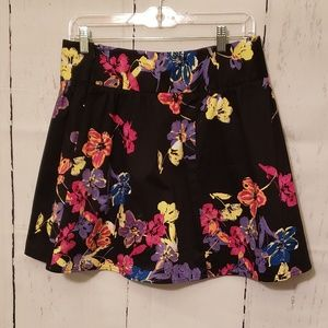 Candie's Black with Flowers Skater Skirt